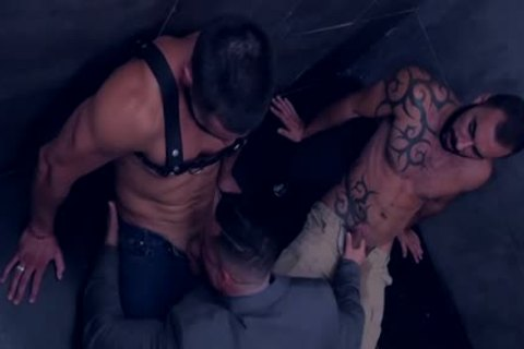 Muscle homosexual threesome And sperm flow