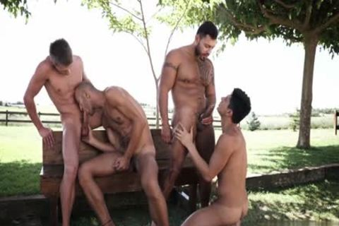 Naughty homo double penetration with cumshot